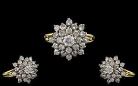 18ct Gold Diamond Cluster Ring Set With Round Modern Brilliant Cut Diamonds, Fully Hallmarked,