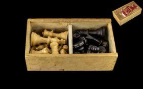 Vintage Boxwood Staunton Chess Set,