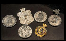 2 Victorian Pressed Silvered Metal Badges, Enameled Gilt Victorian Medallion 1897,