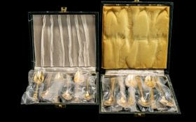 Oneida Gold Plated Box of ( 6 ) Teaspoons, Together with 1 Box of ( 6 ) Coffee Spoons.