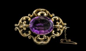 Antique Period - Attractive 9ct Gold Large Amethyst Set Ornate Brooch,