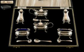 Elizabeth II - Superb Boxed ( 10 ) Piece Sterling Silver Cruet Set,