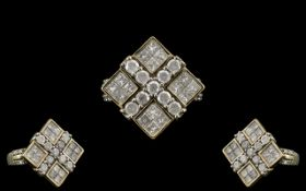 Diamond Cluster Ring Set With Round Modern Brilliant & Princess Cut Diamonds, Fully Hallmarked,
