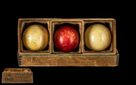 A Collection of Large Victorian Ivory Billiard Balls In Original Box.