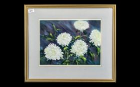 """Watercolour of White Chrysanthemums, framed and mounted behind glass, overall size 22"""" x 18"""","""