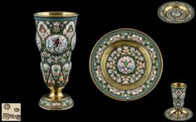Russian Imperial Superb Quality and Heavy Silver Gilt Cloisonne Enamel Drinking Set.