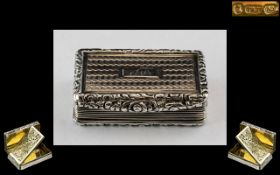 William IV - Superb Quality Sterling Silver Hinged Vinaigrette with Wonderful Grill of Large