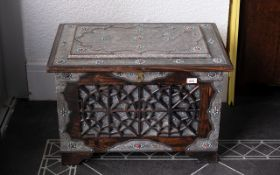 20th Century Saudi Arabian Blanket/Dowry Chest, overlaid throughout in silvered metal, fine chased,