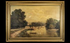 Large Antique Oil on Canvas River Landscape, well painted scene of a fisherman in a boat,