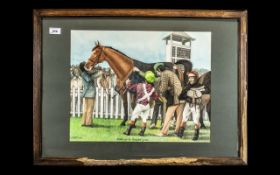 Horse Racing Interest: D Carter Original Oil on Board showing a horse in the Winner's Enclosure,