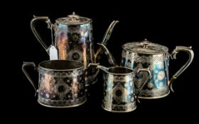 Victorian Four Piece Silver Plated Tea Service, Fenton Brothers,