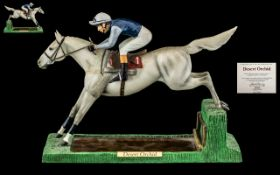 Danbury Mint Hand Painted Ltd and Numbered Edition Jockey and Horse Figure ' Desert Orchid ' Racing