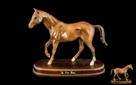 Royal Doulton Hand Painted Horse Figure Raised on a Wooden Plinth - Titled ' My First Horse '