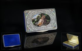 Swiss - Early 20th Century Superb Silver and Blue Enamel Hand Painted Lidded Box. The Central Hand