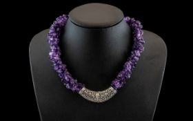 Vintage Silver and Amethyst Necklace, large and chunky amethyst necklace with chunky silver clasp,