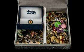 Collection Of 100 Enamelled Pin Badges, To Include Royal Air Force, Comic Relief, Flags,
