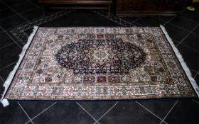Beautiful Silk Keshan Persian Rug, measures 2.00 x 1.4 m with fringing to edges.