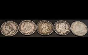 Collection of Five Victorian Silver Crowns, dated 1889, 1892.