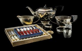 A Silver Plated Three Piece Teaset.