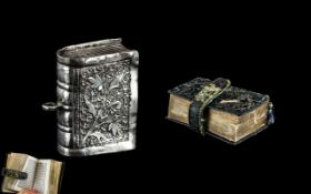 Rare Antique Miniature Islamic Book/ The Quran in a Small Silver Case, with flower decoration,