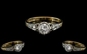 18ct Gold and Platinum Attractive Diamond Set Ring. Marked Platinum and 18ct to Interior of Shank.