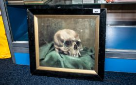 Victorian Memento Mori Oil Painting of a Skull, realistically painted in oils,