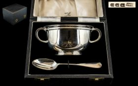 Art Deco Period - Sterling Silver Twin Handle Loving Cup and Spoon of Solid Construction.