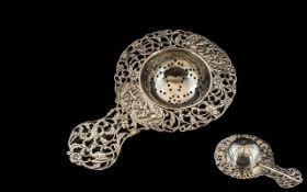 Early 20th Century Silver Tea Strainer, very ornate,