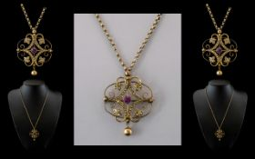 Victorian Period - Attractive 9ct Gold Ornate Fancy Open Worked Seed Pearl and Amethyst Set Pendant
