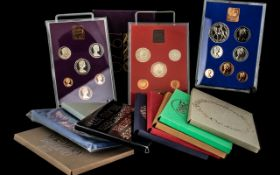 Royal Mint Collection of 13 Year Sets, dating from 1970 to 1982.