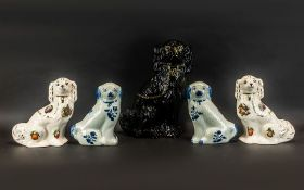 A Collection Of Staffordshire Dogs - Five In Total.