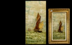 19th Century Oil on Canvas Yarmouth Seascape, fisher boat in high seas, unsigned. Measures 23.