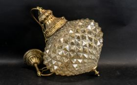 1 x Strawberry Shaped Glass Lamp with Brass Style Pendant Ceiling Fitting and Suspension Chain.