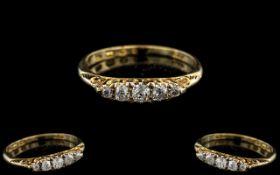 Antique Period Attractive 18ct Gold 5 Stone Diamond Set Ring.