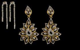9ct Gold Diamond Earrings, Double Line Drop Diamond Set, Fully Hallmarked.