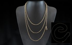 Antique Period - Stunning 9ct Gold Muff Chain of Extra Length. Marked 9ct. All Aspects of