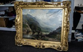 Large Victorian Continental Oil on Canvas, mountainous landscape with figures, unsigned.