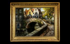 An Oil on Canvas Early 20thC Continental Village Scene depicting houses, bridge and river.