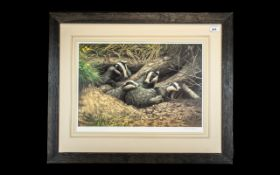 Adrian Rigby: Signed Print of Badgers In Nest, lovely print of badgers in a ground surface nest,