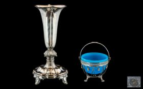 A Victorian Silver Plated Sugar Bowl with blue glass liner in the Adam's style.