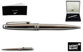 Mont Blanc Meisterstuck KVII93845 Silver Tone Cased Propelling Ballpoint Pen.