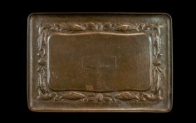 Newlyn Arts and Crafts Copper Tray embossed fish and shell border with planished finish.