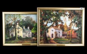 Pair of Oil Paintings by Norman Donnelly, oil on canvas stuck to board, of Bankfield House, Poulton,