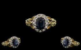 Antique Period - Attractive 18ct Gold and Platinum Diamond and Blue Sapphire Set Cluster Ring.