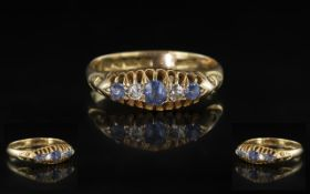 Antique Period - Nice Quality 18ct Gold 5 Stone Diamond and Sapphire Set Ring - Gallery Setting.