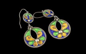 Beautiful Quality Pair of Large Round Multi Coloured Enamel Set Silver Earrings. Set In Blues,