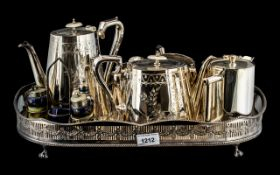 Collection of Silver Plated Items, comprising a large tray raised on claw feet,
