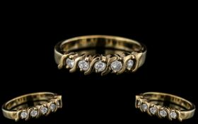 Ladies - Attractive 9ct Gold 5 Stone Diamond Ring. Full Hallmarks to Interior of Shank.
