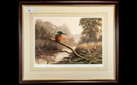 Adrian Rigby: Pencil Signed Print of a Kingfisher, well executed picture of a kingfisher on branch,
