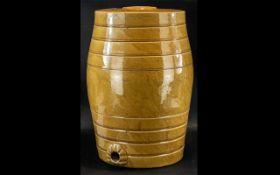 Large Antique Glazed Stoneware Barrel, approx.